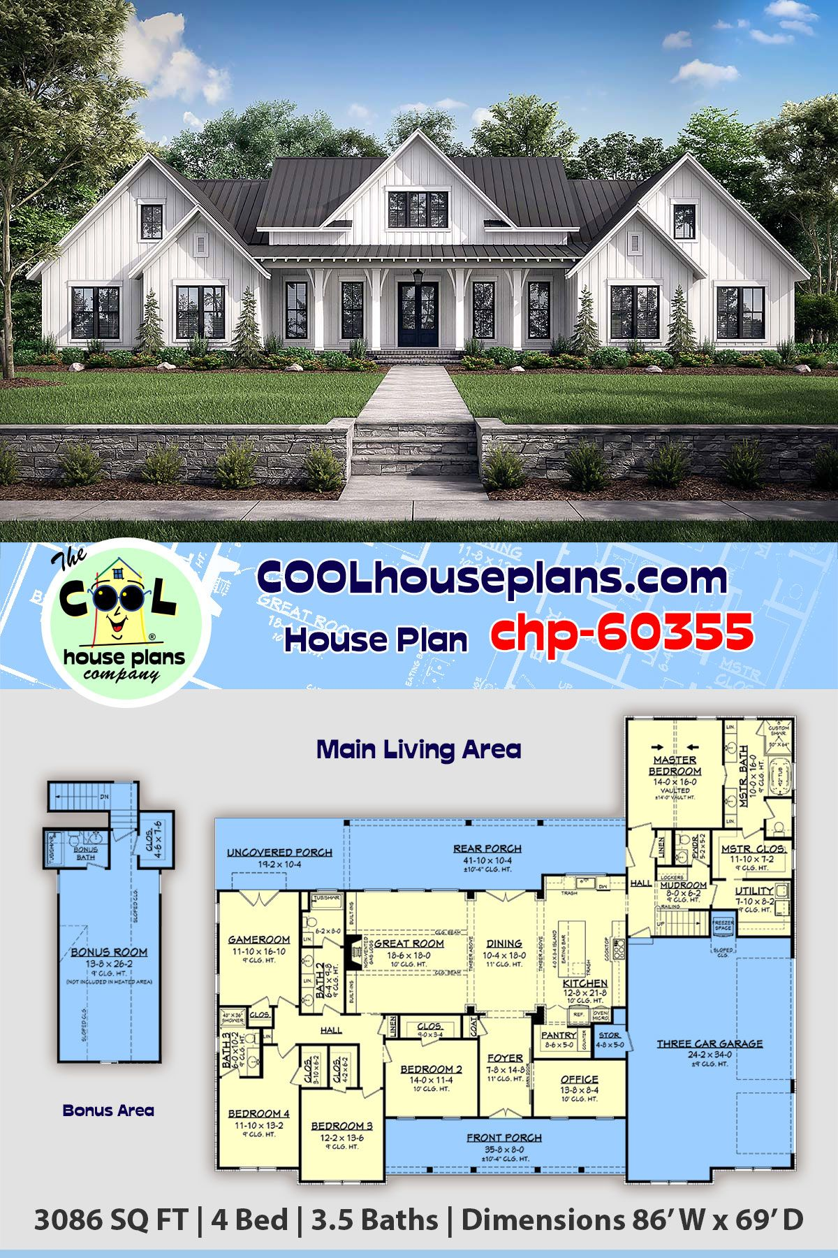 Traditional Style House Plan 56716 With 4 Bed 4 Bath 3 Car Garage Family House Plans Bedroom House Plans Farmhouse Plans