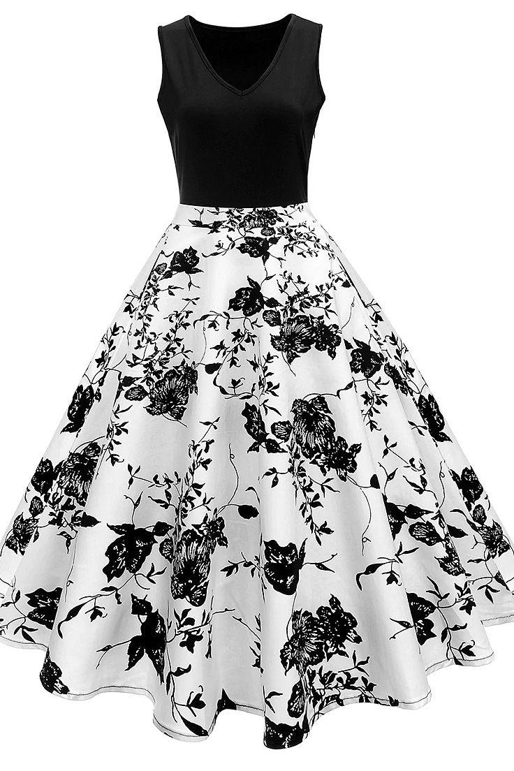 High Waisted Printed Vintage Dress