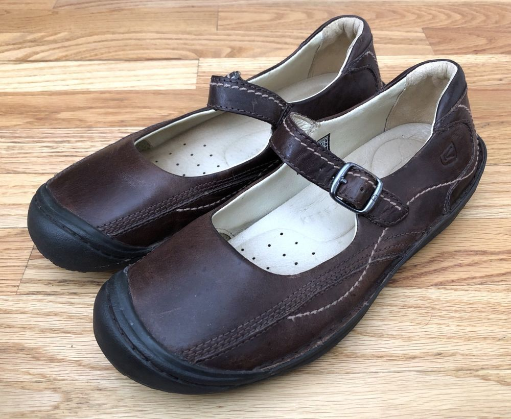 8ccd62e42c73 KEEN Shoes Women Size 11 Brown Leather Mary Jane Walking Flats 53011 Buckle