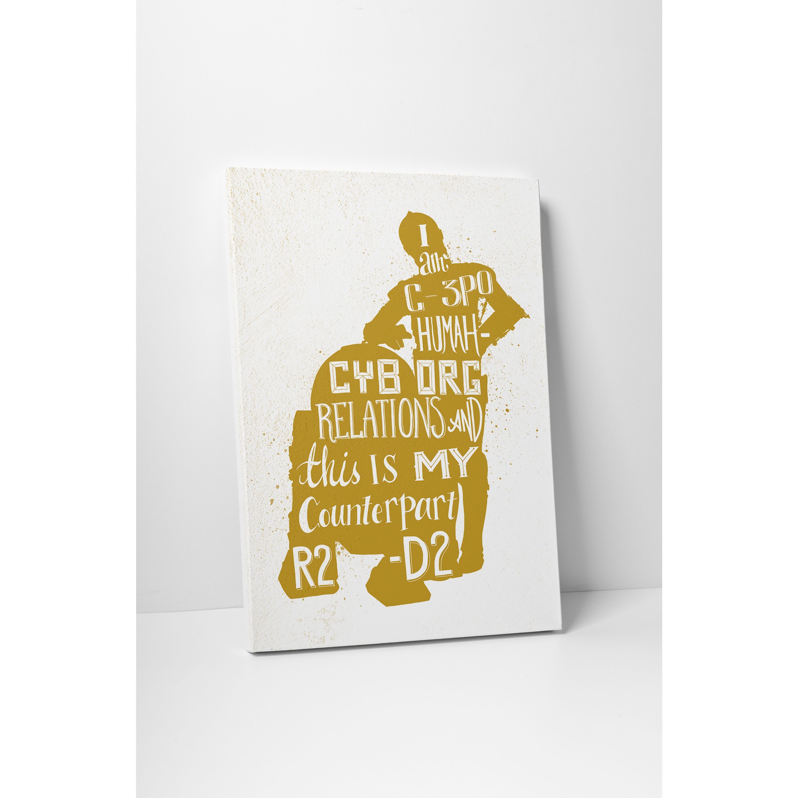 Jackie Star Wars Quotes \'C3PO & R2D2\' Gallery Wrapped Canvas Wall ...