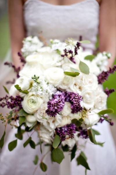 Brides Bouquet - White hydrangea, white ranunculus, white stock, real lavender, add lavender rose, add cymbidium orchids (white with purple center) seeded eucalyptus.