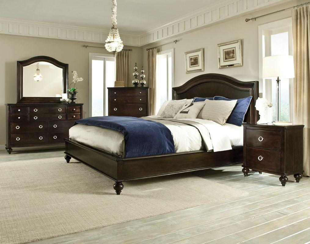 Portman Dark Brown 5 Pc Bedroom Set W King Panel Bed Std 88800 S4
