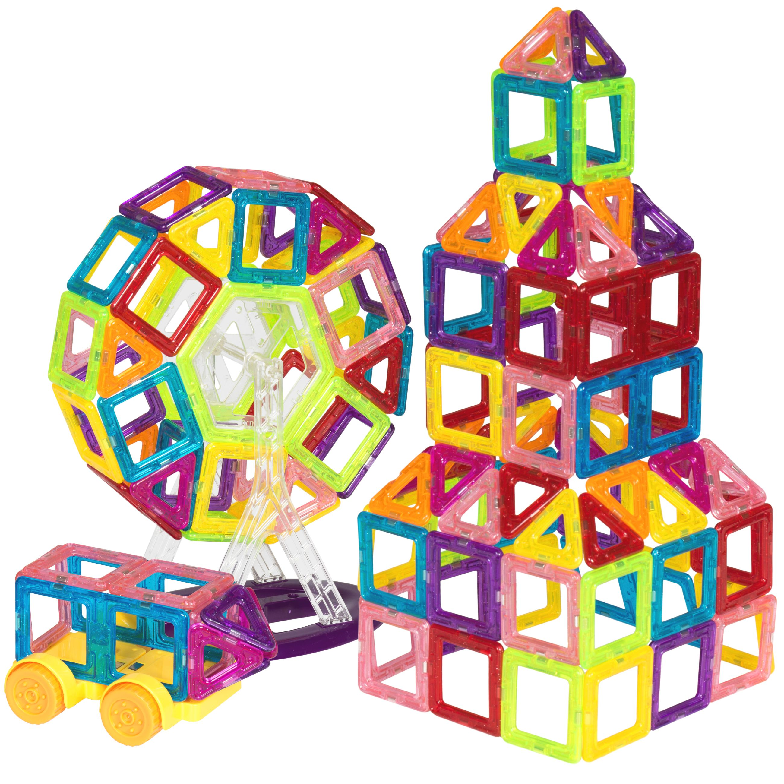 Best Choice Products 158 Piece Kids Mini Clear Magnetic Building Block Tile Toy Set For Education Stem Multicolor Walmart Com Magnetic Building Tiles Magnetic Building Blocks Stem Toys