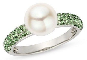 Cultured Pearl and 3/4 Carat Tsavorite 14K White Gold Ring - Vividly hued green tsavorites add a touch of dramatic color to this beautifully modern ring $120 at Ice.com