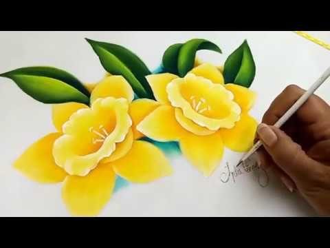 Como Pintar Una Flor Narcisos Amarillos Youtube Pintura En - Narcisos-amarillos