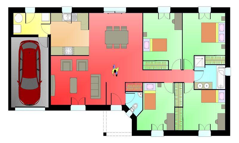 Plan maison 4 chambres Planos de casas con 4 dormitorios