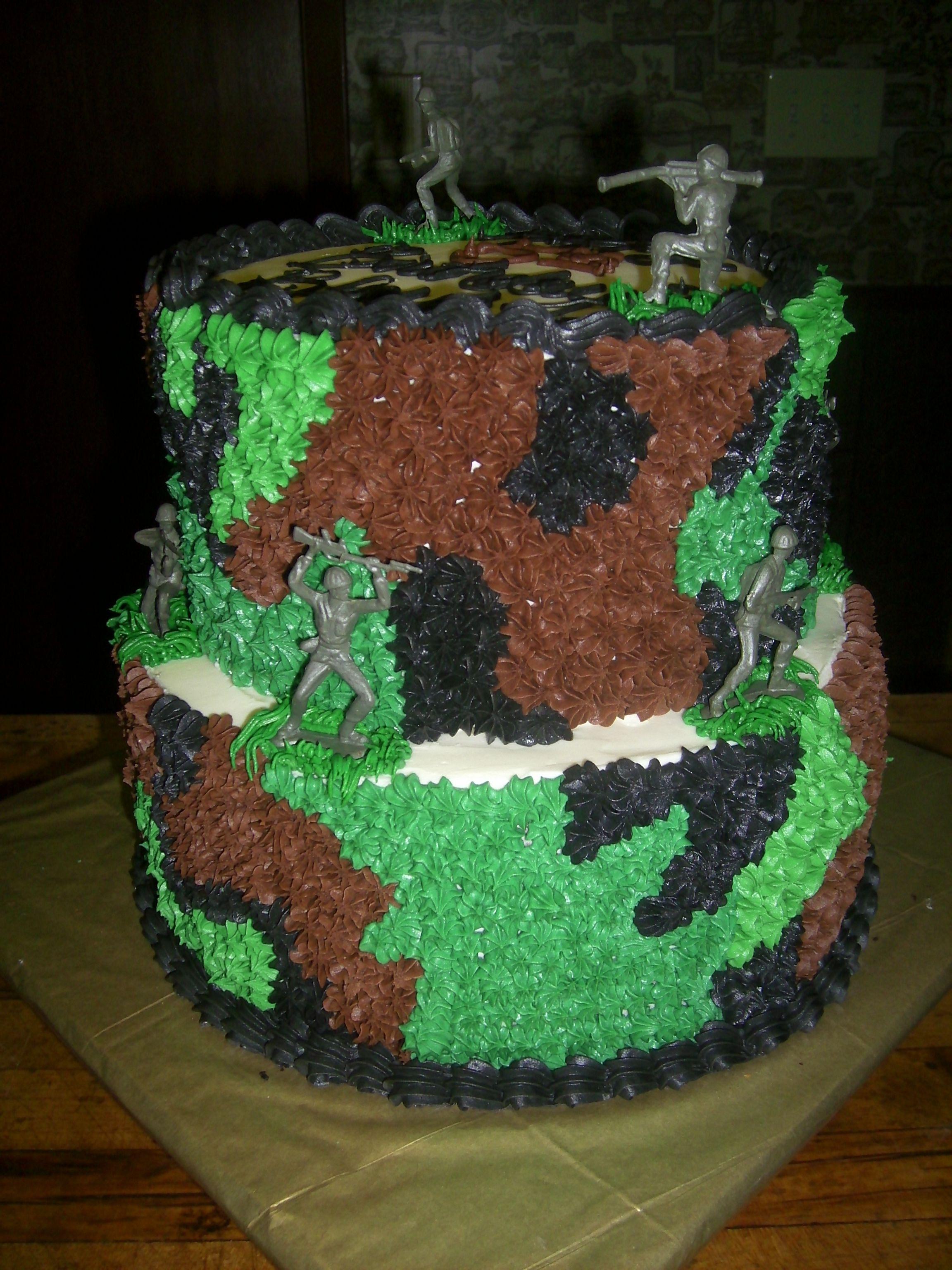 Camo A camo cake Bottom is 10 chocolate Top is 8 vanilla