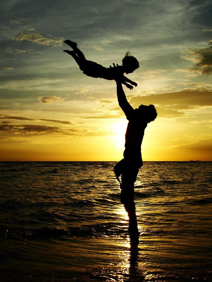 Fathers Day Quotes From Daughter: Father Playing With Small Child At The Beach In The