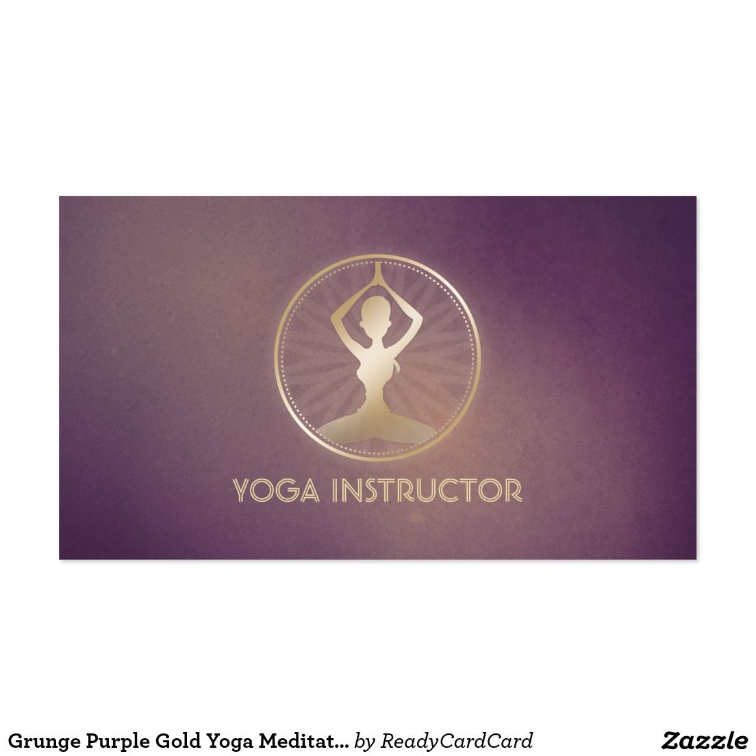Grunge Purple Gold Yoga Meditation Pose ZEN Symbol Business Card ...
