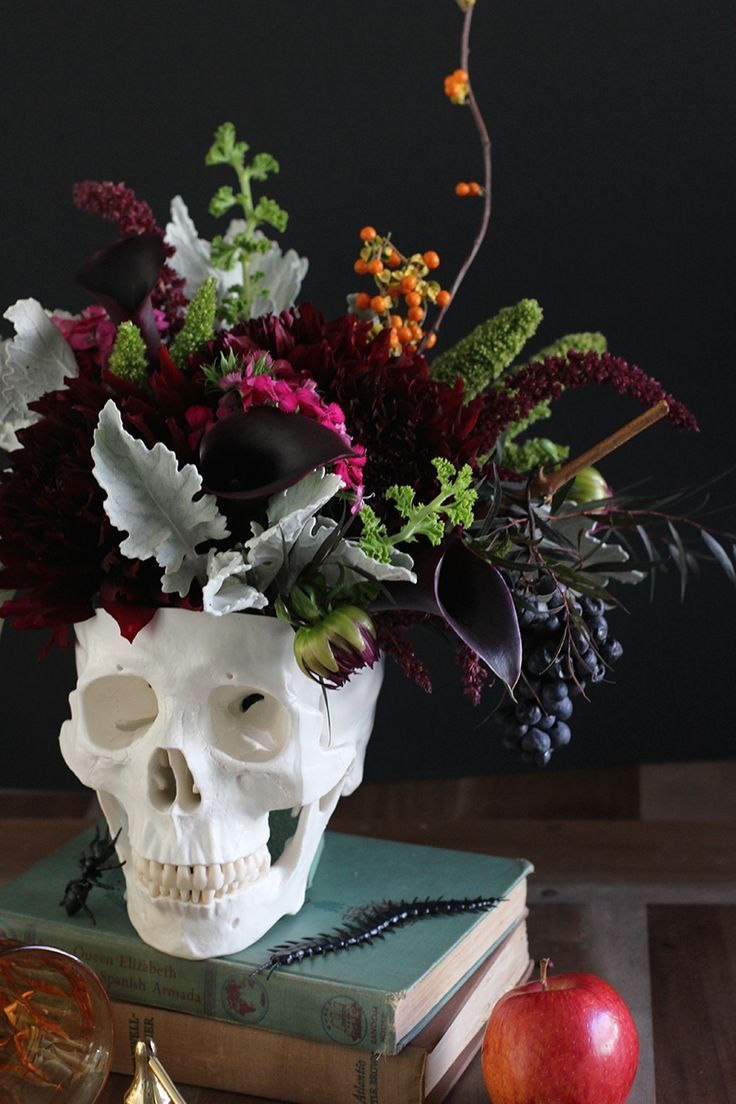 DIY Floral Skull Centerpiece Floral skull, Centerpieces and Floral - halloween decorations diy