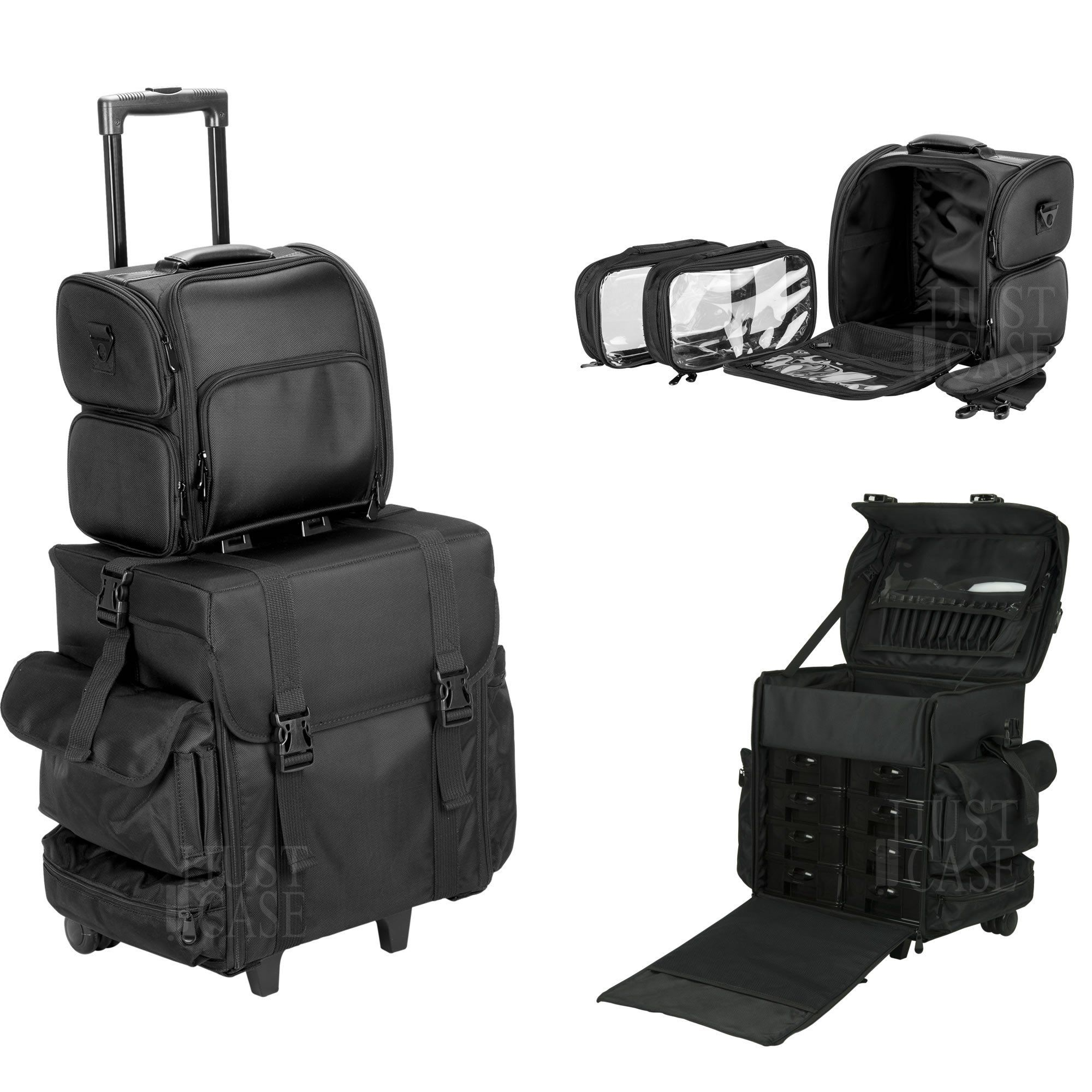 b274b3bde91a Piovan Soft Sided Makeup Artist Cosmetic Rolling Travel Case by ...