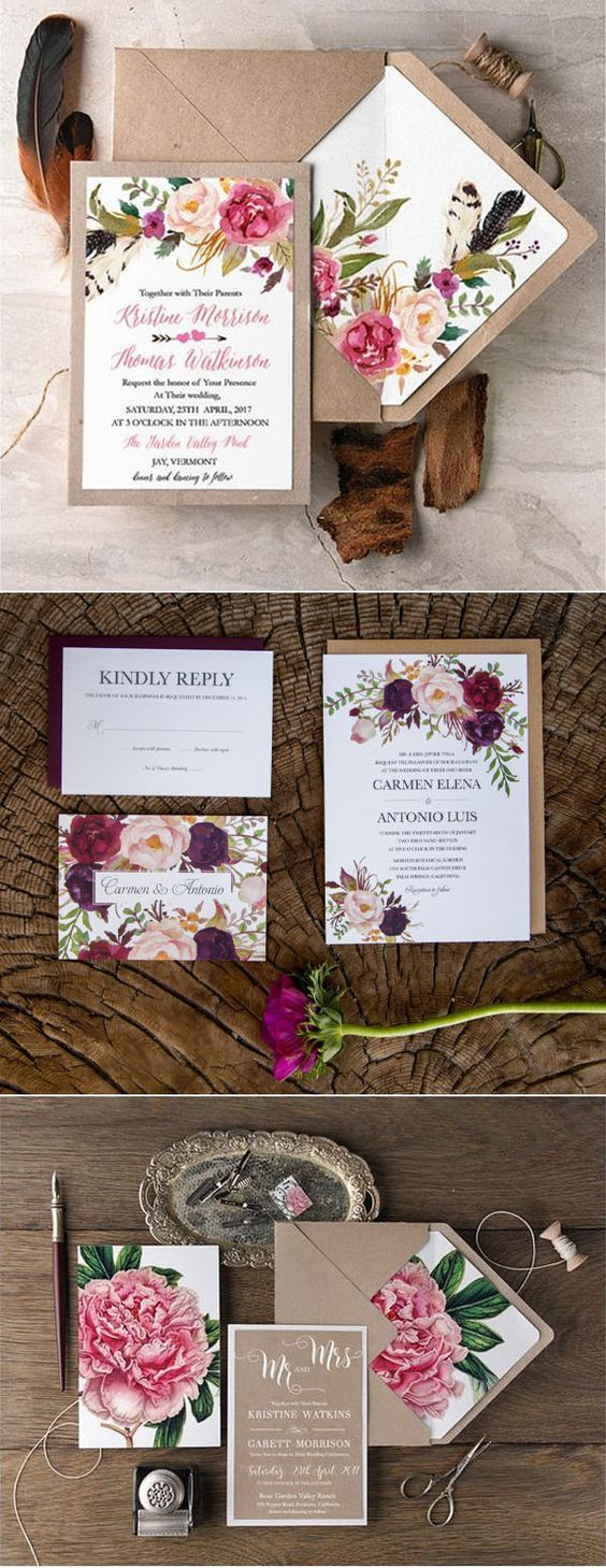 Big floral wedding invitation trends with matching envelope liners
