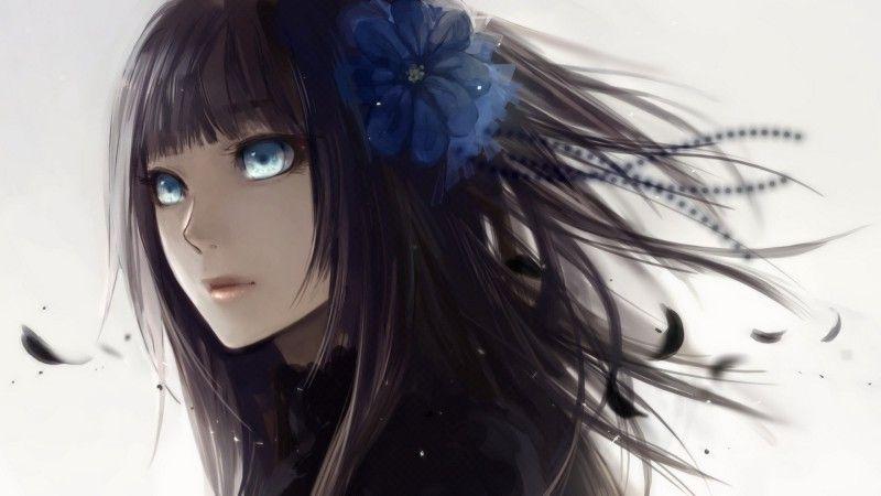 Девушки с черными волосами и голубыми глазами аниме
