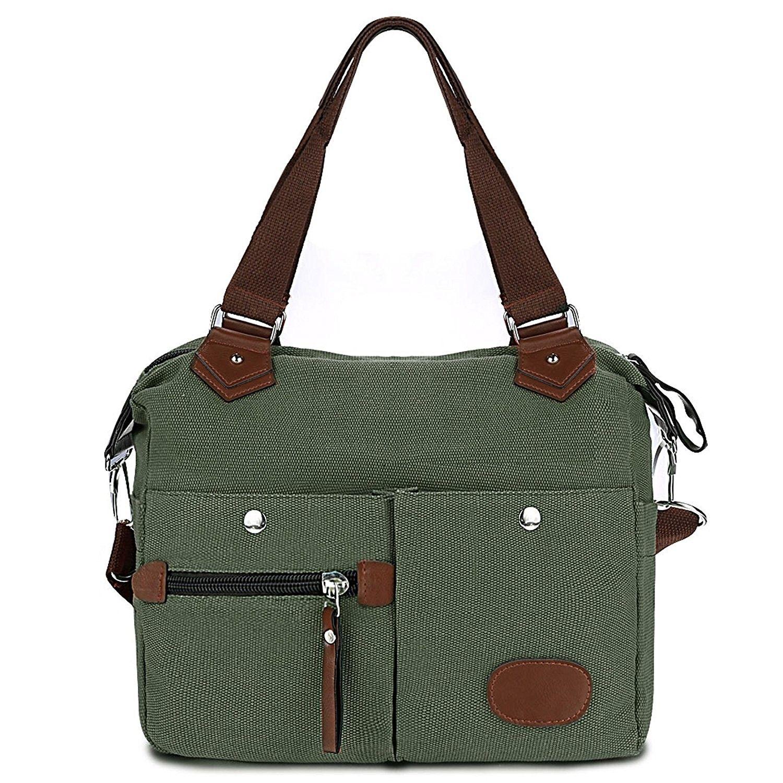 Canvas Handbag with Pockets Women Satchel Handbag Casual Crossbody Shoulder  Bag Messenger Bag - Green - 5676de33a96df
