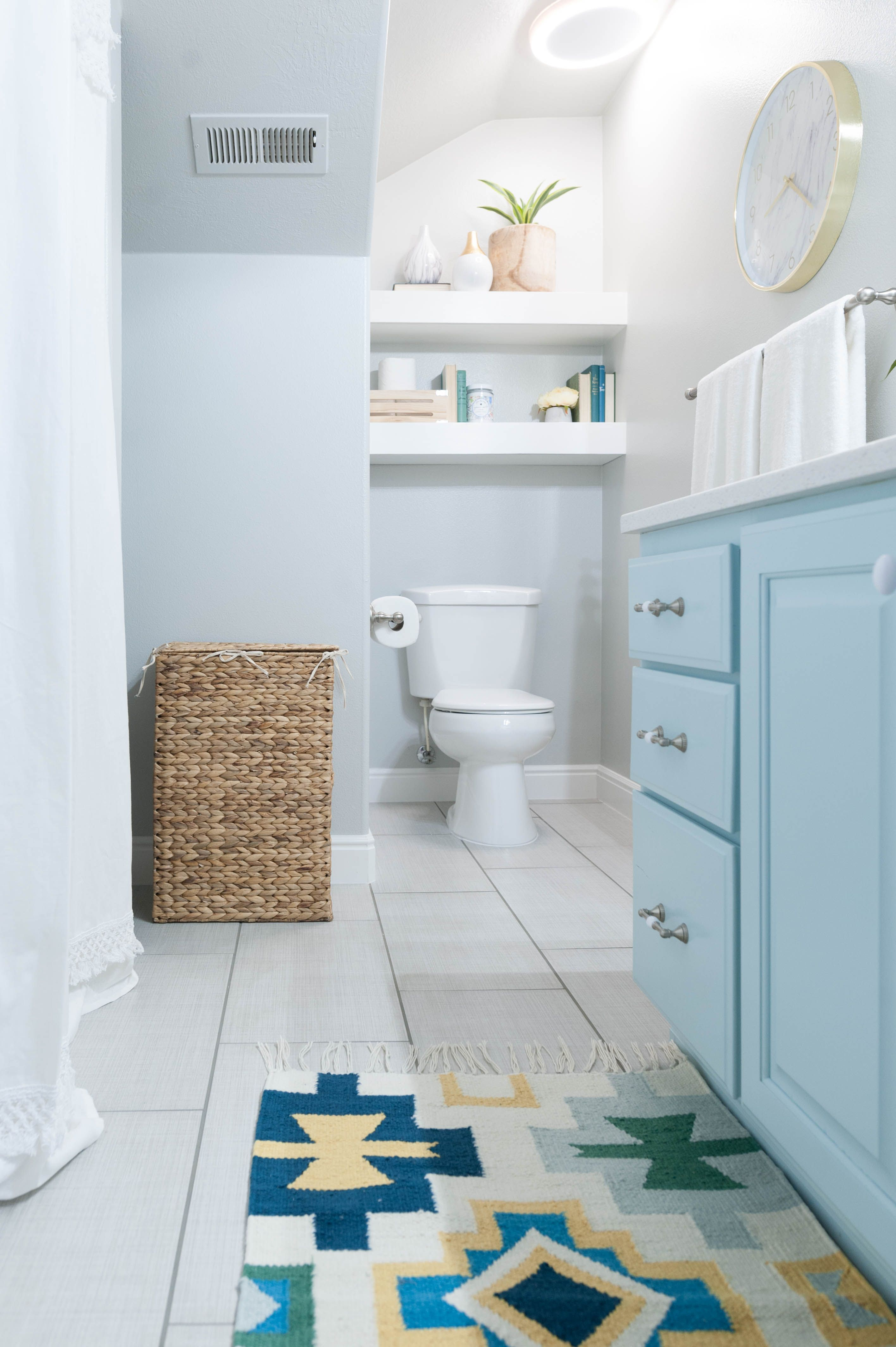 Kids Bathroom Remodel With Pops Of Light Turquoise Yellow And