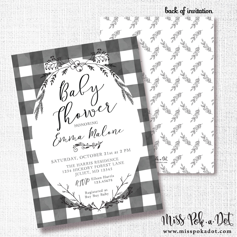 Black White Buffalo Check Shower Invitation Printable Etsy In 2021 Plaid Baby Shower Bridal Shower Invitations Printable Baby Shower Invitations