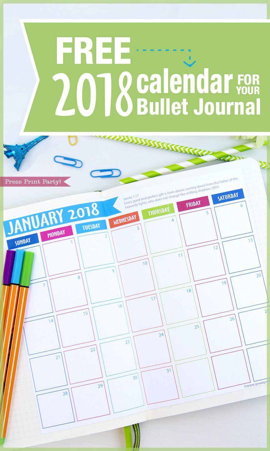 Free 2018 Calendar For Your Bullet Journal By Press Print Party