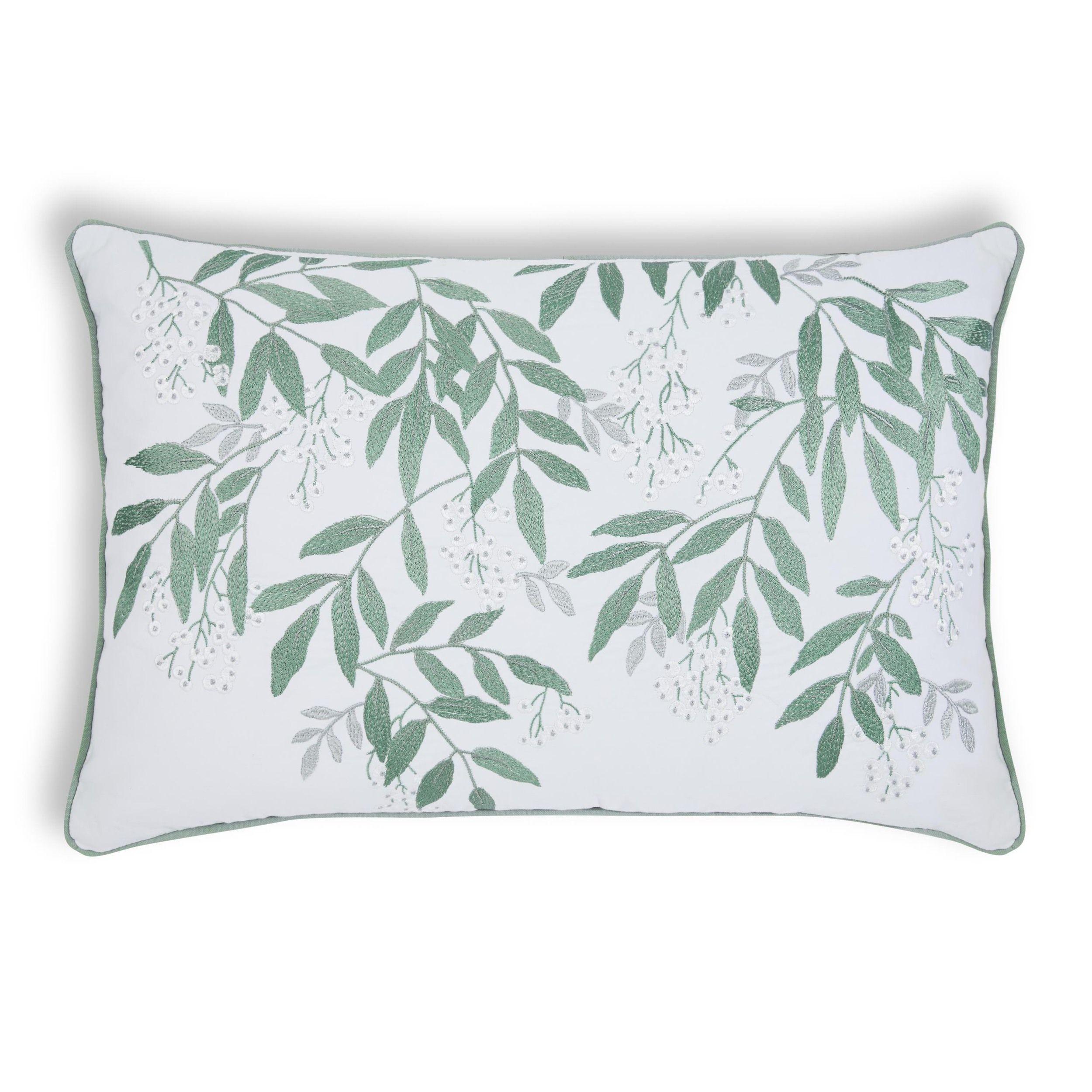 Greendale Embroidered GreyGreen Cushion Laura Ashley Interiors