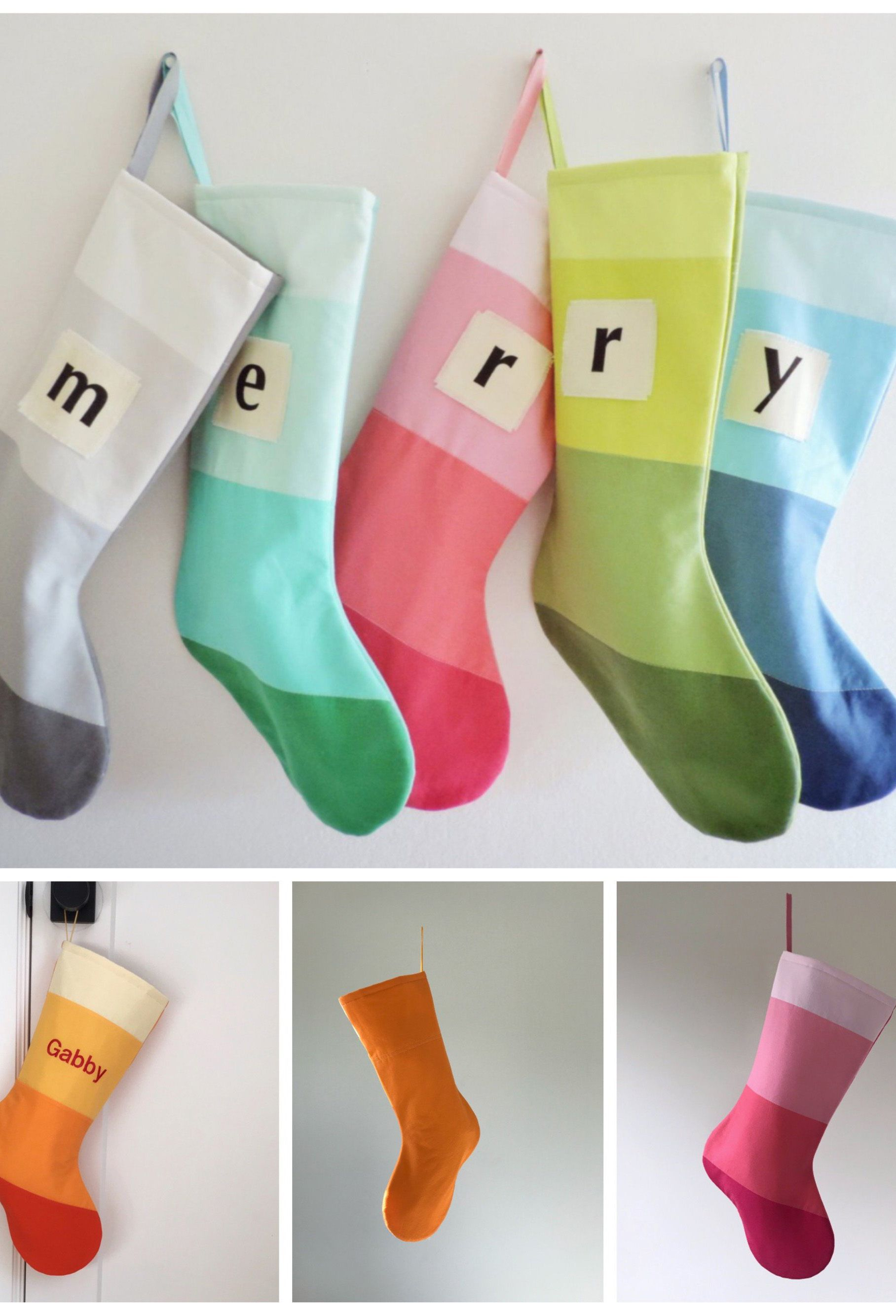Colorblocked and personalized holiday stockings