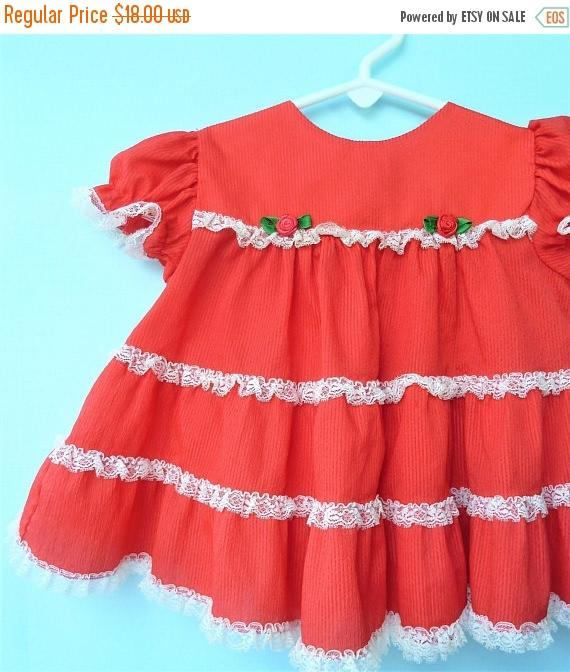 On Sale 1980 S Vintage Red Infant Christmas Dress W