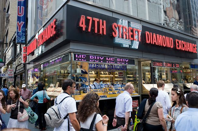 Diamond District in NYC on West 47th Street between 5th & 6th Avenues. The world's largest shopping district for all sizes/shapes of diamonds and fine jewelry.