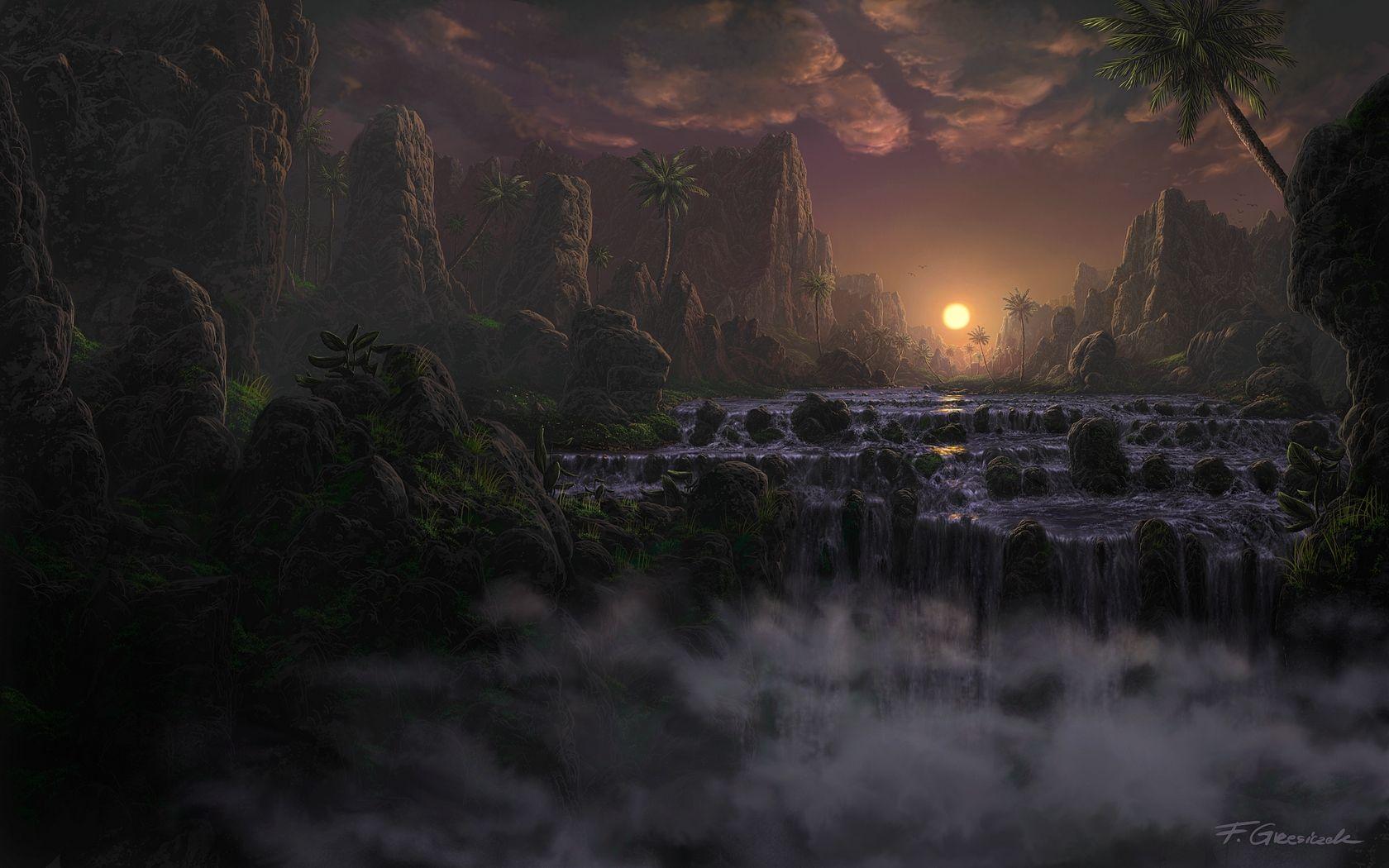 Sunset Over River By Fel X Deviantart Com On Deviantart Surrealisme Fond Ecran Fantaisie