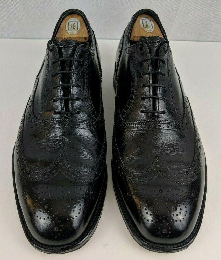 Freeman Free-Flex Black Dress Shoes  Cap Toe Brogue Leather Oxfords  Mens Vintage Black Lace Up Oxfords  Mens She Size 13 D
