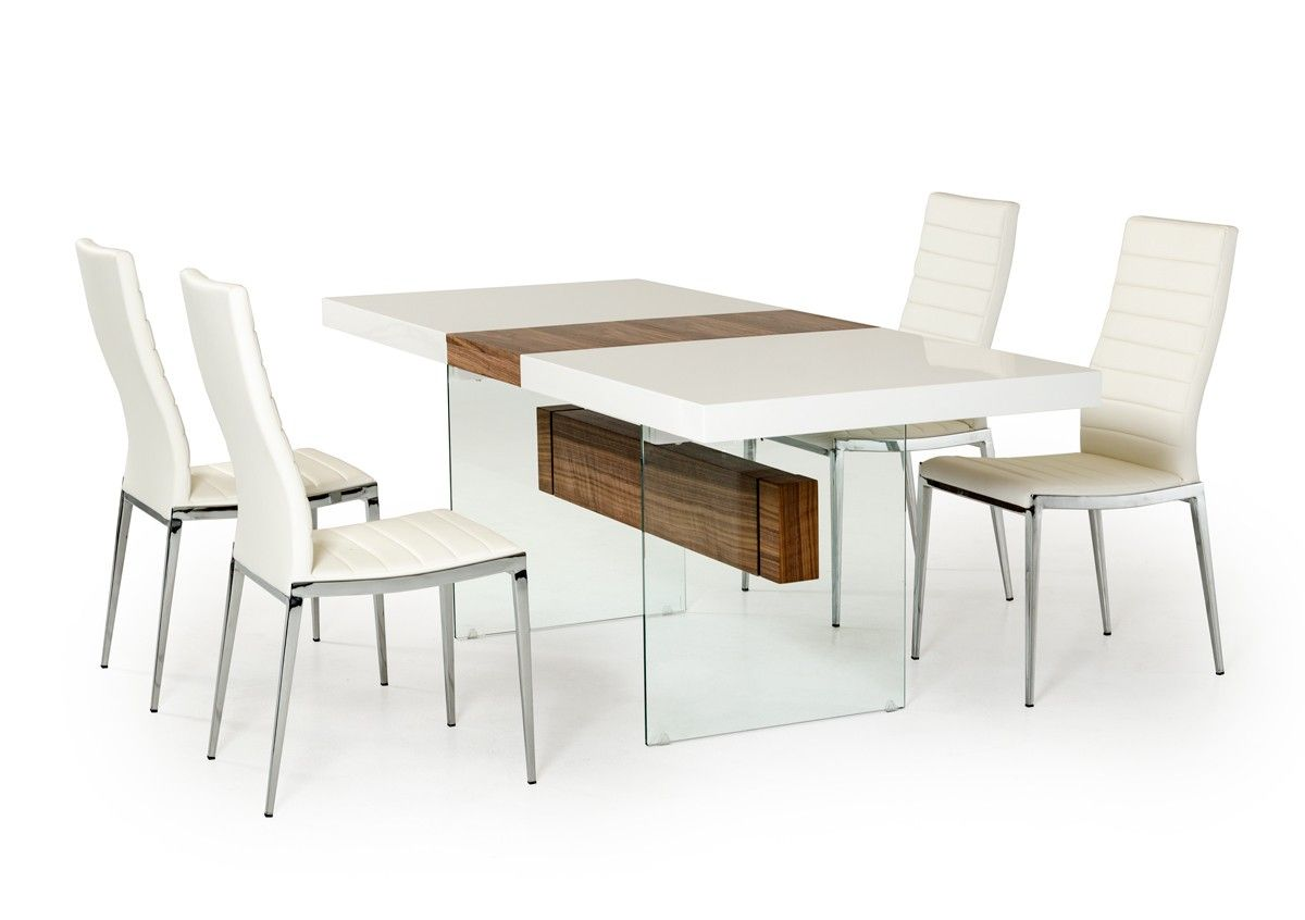 Modrest Sven Contemporary White Walnut Floating Extendable Dining - Glass top extendable dining room table