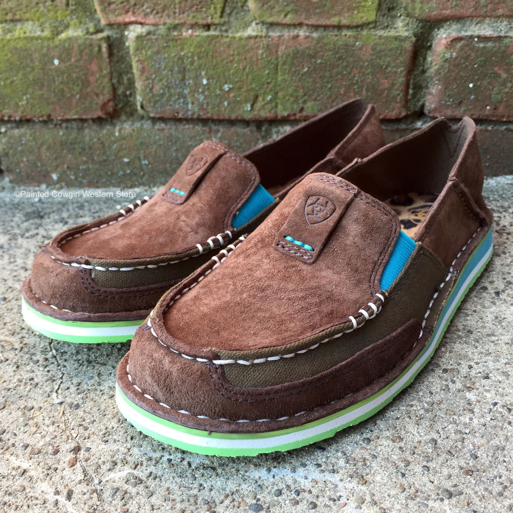 5a5e524c2034 Ariat Women s Palm Cruiser Brown   Turquoise Slip-On Shoe 10017457 ...