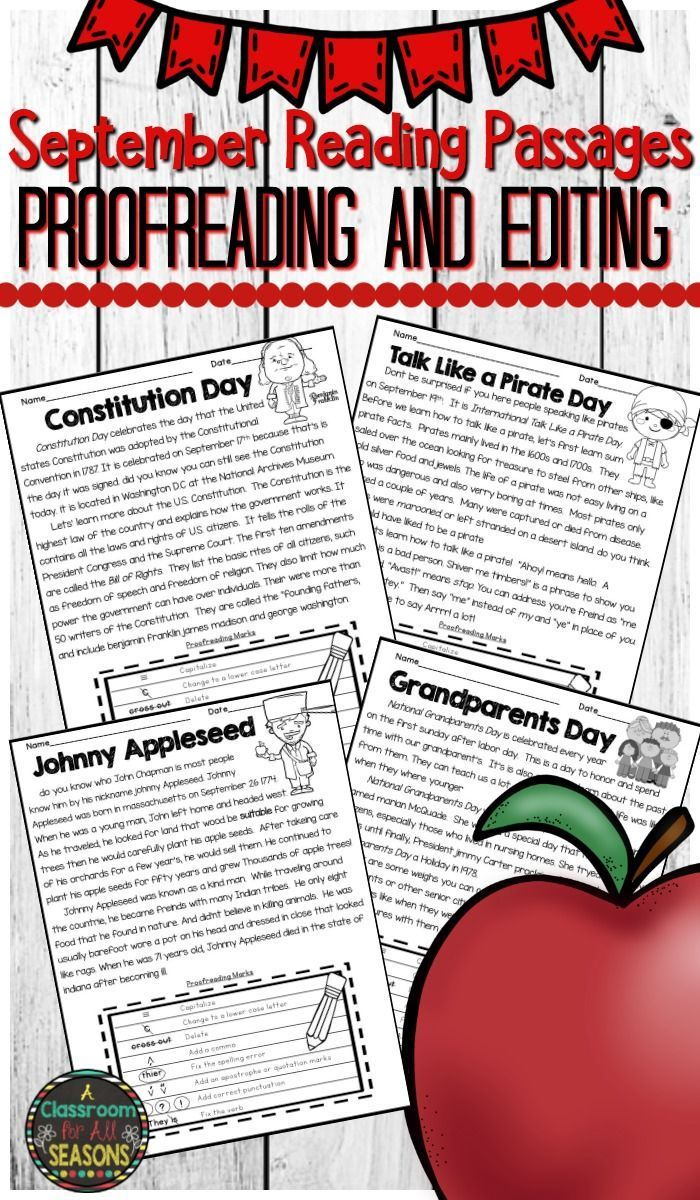 Practice Proofreading And Editing Plus Reading Comprehension With These September Reading Passages Th Reading Passages September Reading Third Grade Resources [ 1200 x 700 Pixel ]