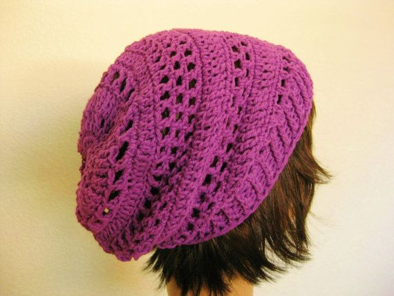 Crochet Slouch Beanie Hat-Purple Slouchy Beanie-Lacy Crochet Beanie ...