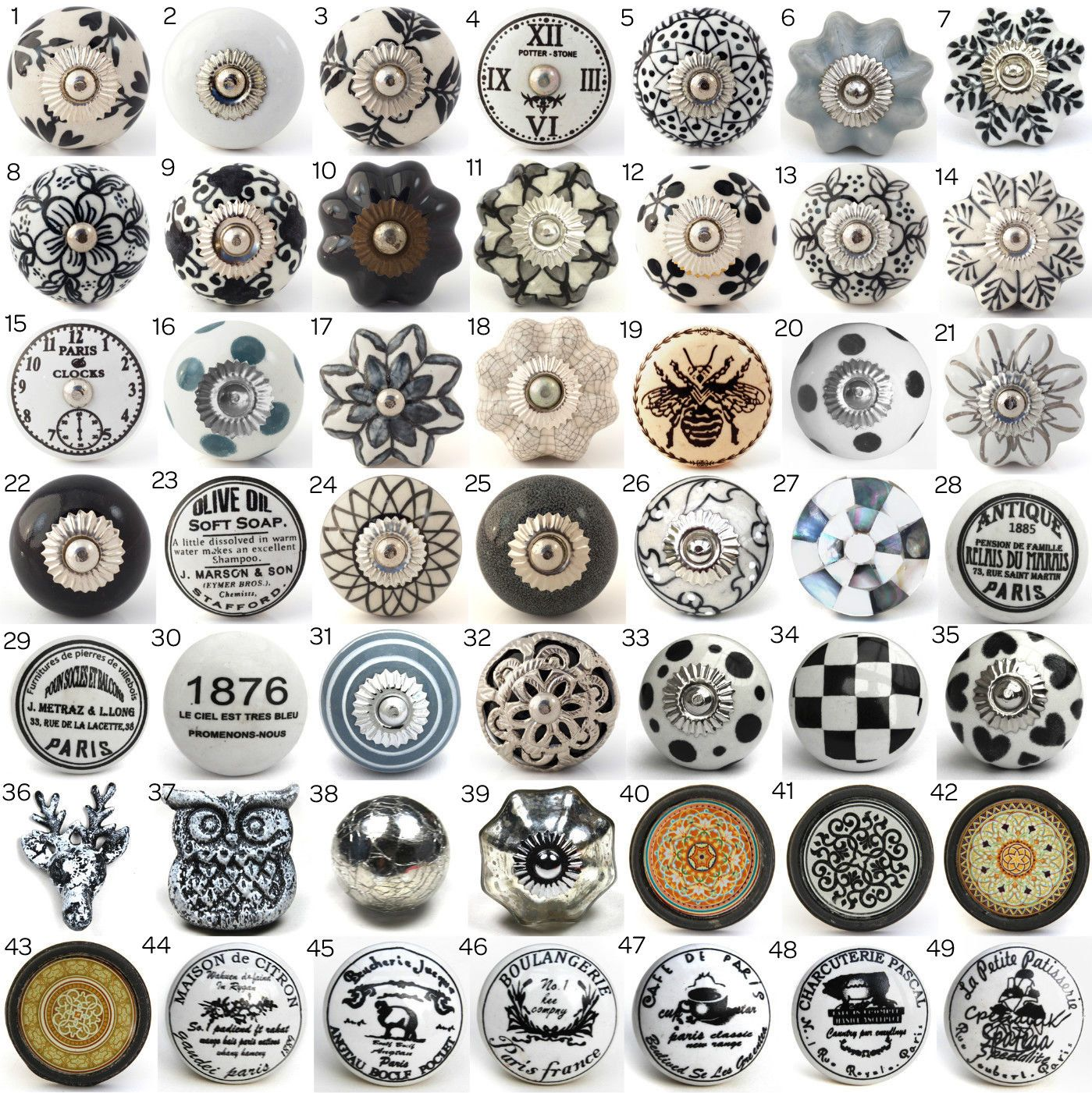 vintage ceramic knobs, ornamental door knobs with various black