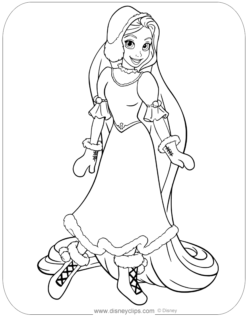 Coloring Page Of Rapunzel All Bundled Up In Cold Winter Weather Disney Rapunzel Tangled Coloringpages Tangled Coloring Pages Coloring Pages Tangled