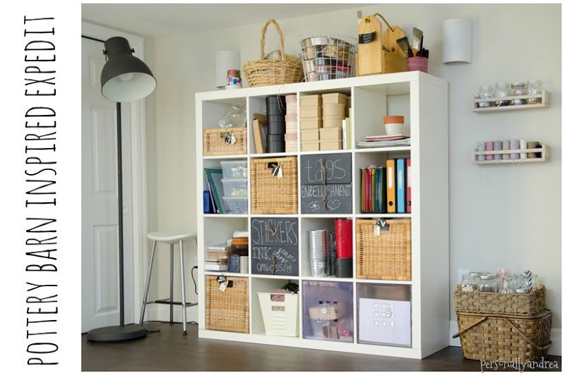 Storage Solutions For Craft Rooms: Pottery Barn Inspired EXPEDIT For Craft Storage
