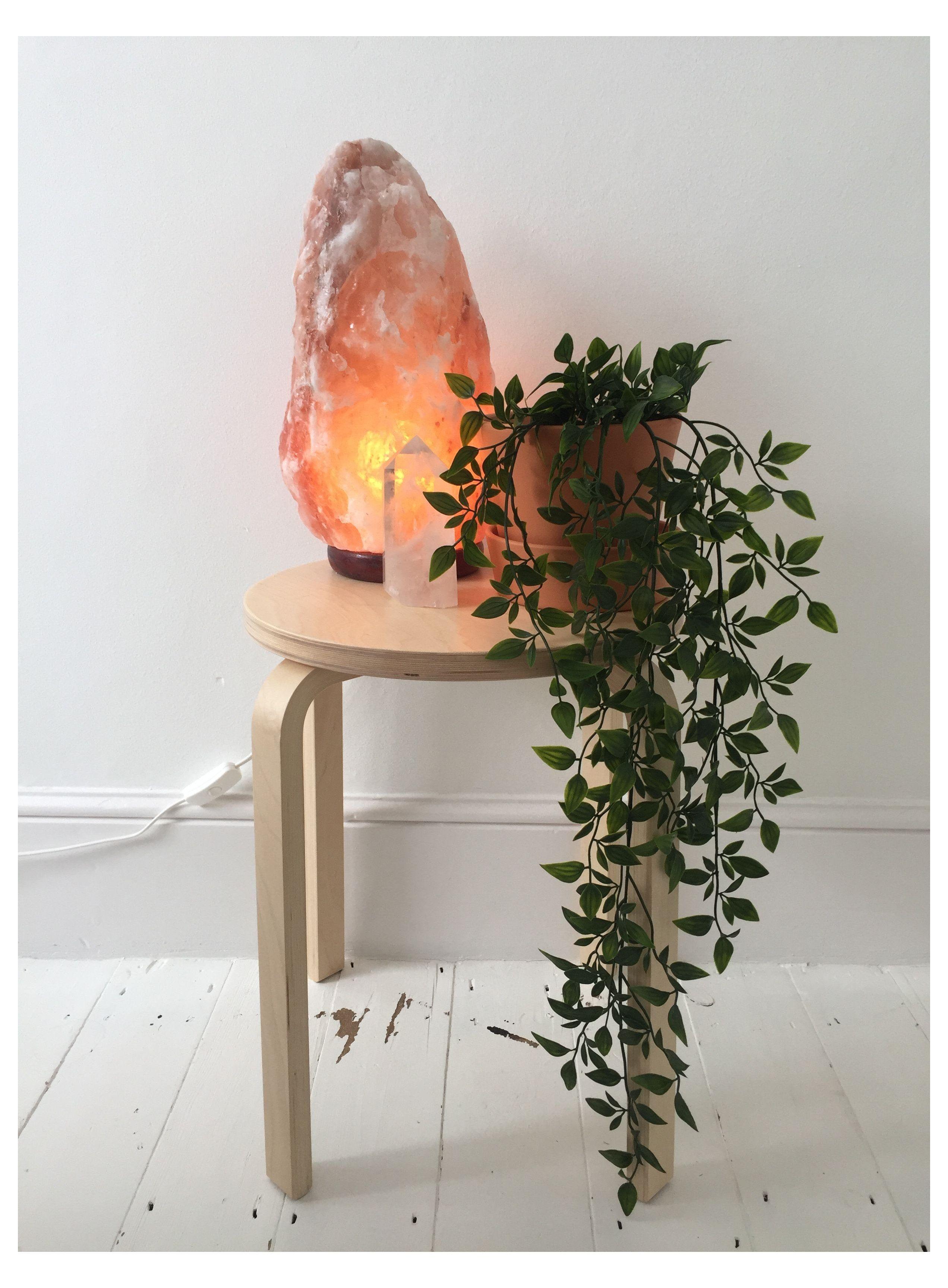 salt lamp and plants