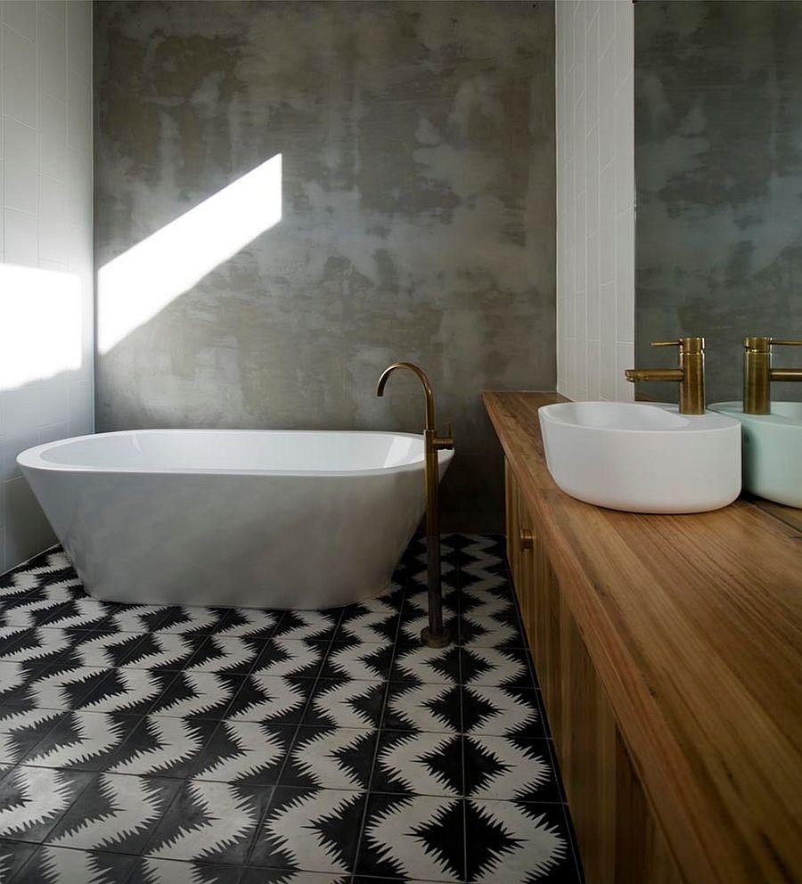 25 Creative Geometric Tile Ideas That Bring Excitement To Your Home Concrete Bathroom Design Concrete Bathroom Bathroom Tile Designs