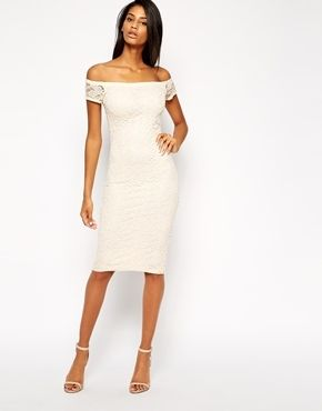 Asos True Lace Bardot Midi Body-Conscious Dress - Cream on