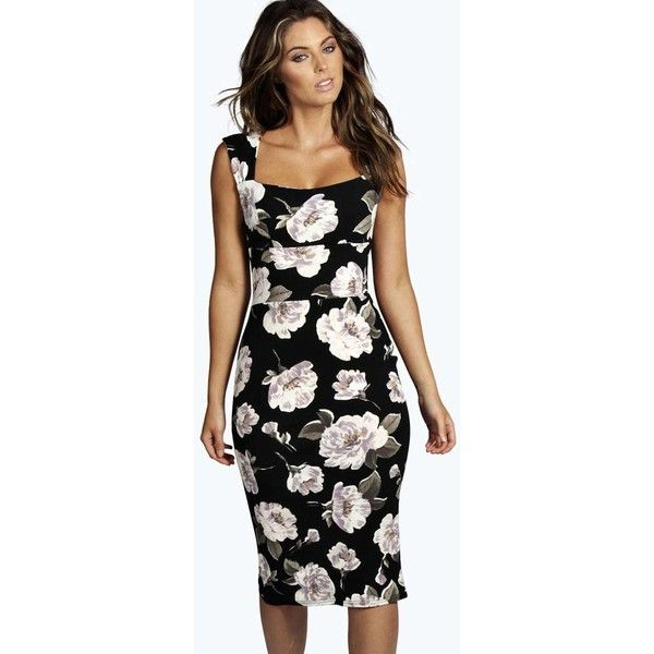 d824ced5bd26 Boohoo Night Suzie Floral Sweetheart Midi Dress ($30) ❤ liked on Polyvore  featuring dresses, black, body con dress, sweetheart dress, fitted midi  dress, ...