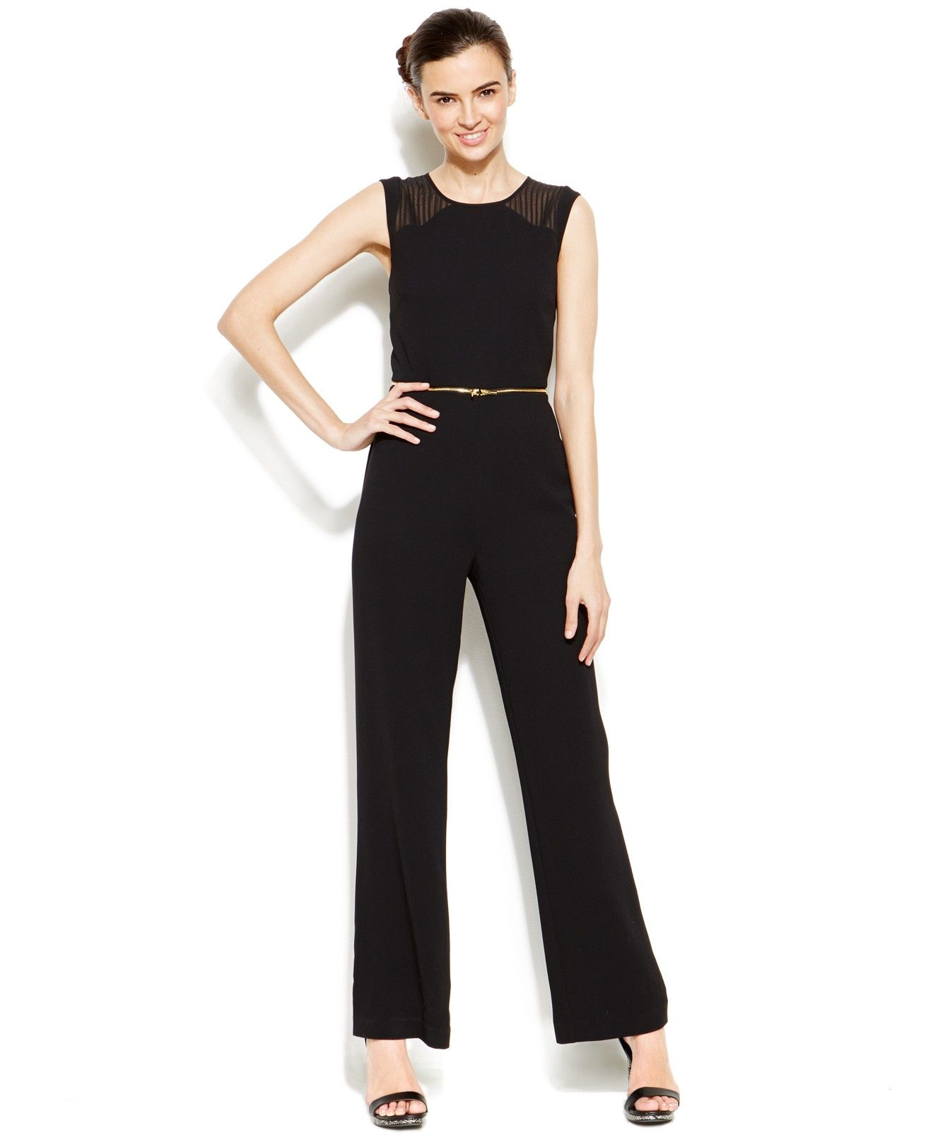 10031a21490f5 Calvin Klein Zippered-Waist Jumpsuit - Jumpsuits & Rompers - Women - Macy's