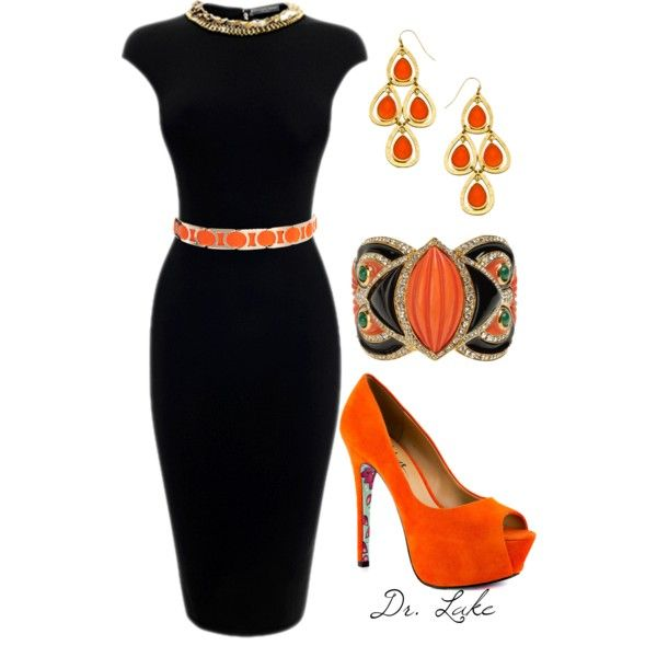 Black and orange dress