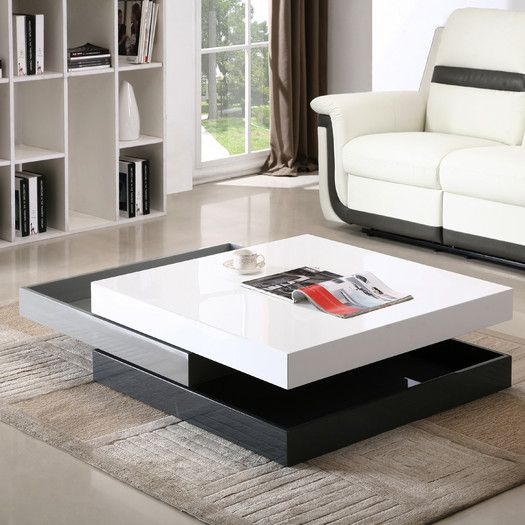 J M Furniture Modern Swivel Coffee Table Glass Table Living Room Living Table Contemporary Coffee Table