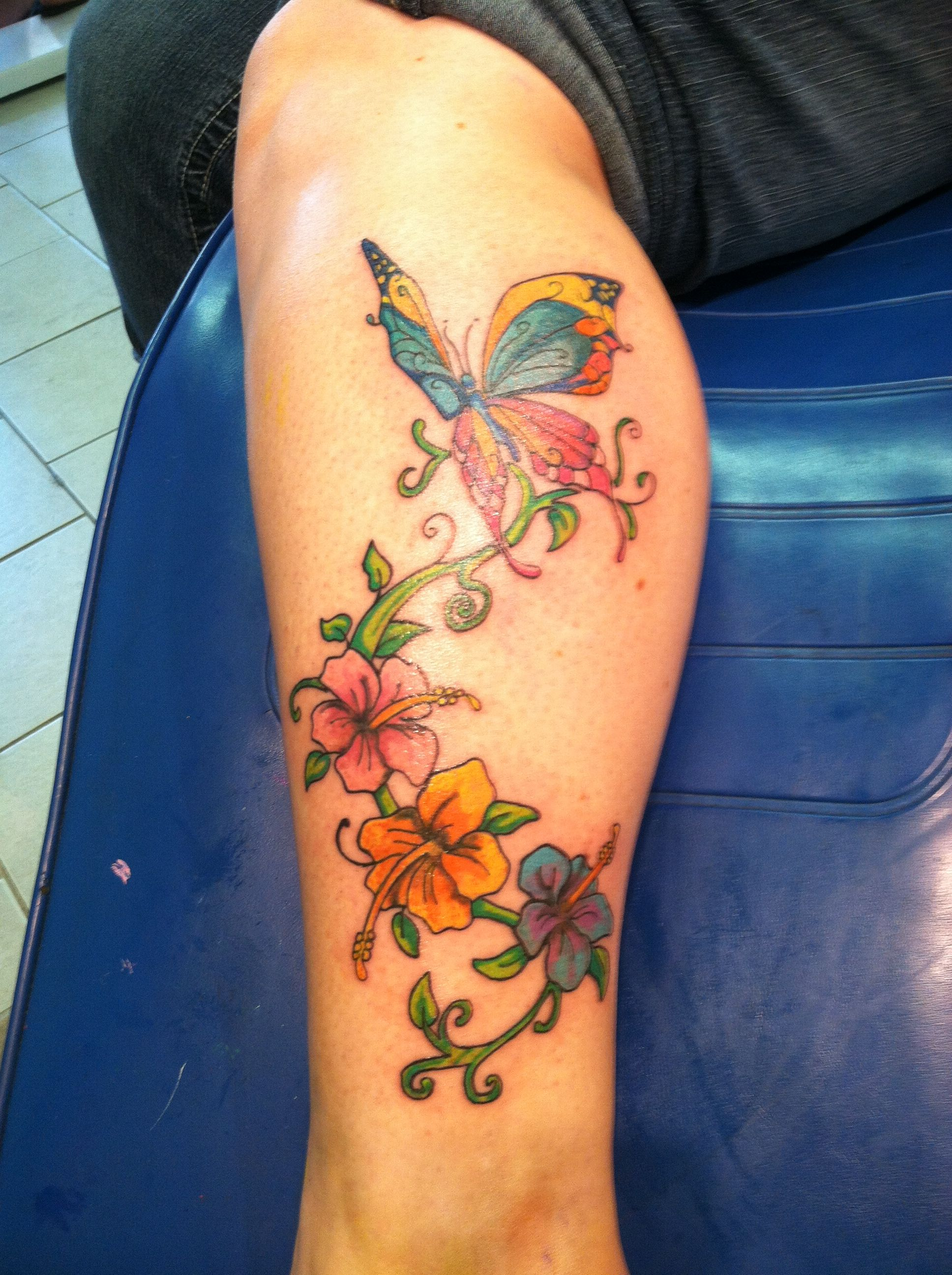 Pretty Flower Tattoos: #tattoo #butterfly #flowers #color #leg #calf #beautiful