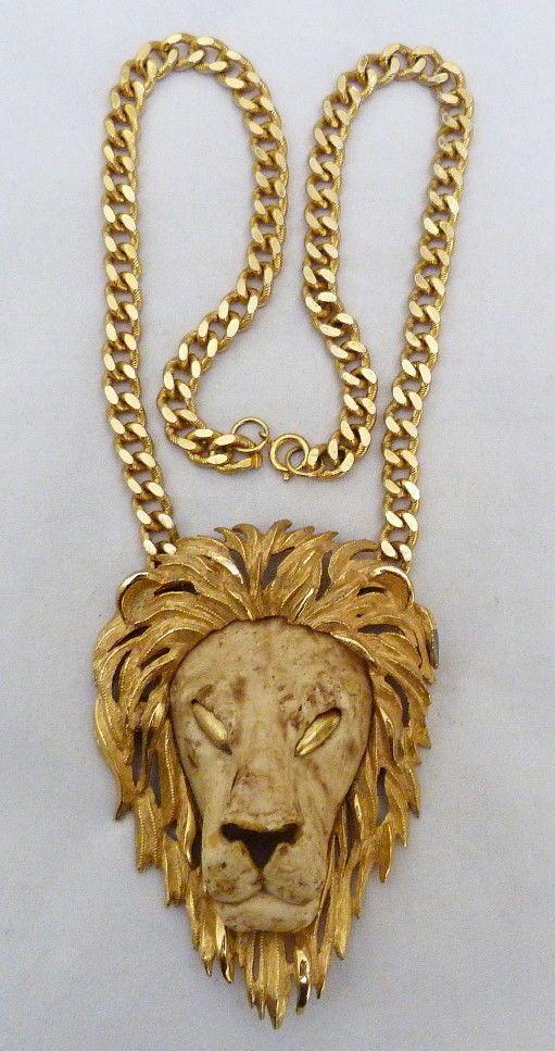 Huge vintage signed razza lions head pendant gold plate chain gold fashion pendants ebay aloadofball Choice Image