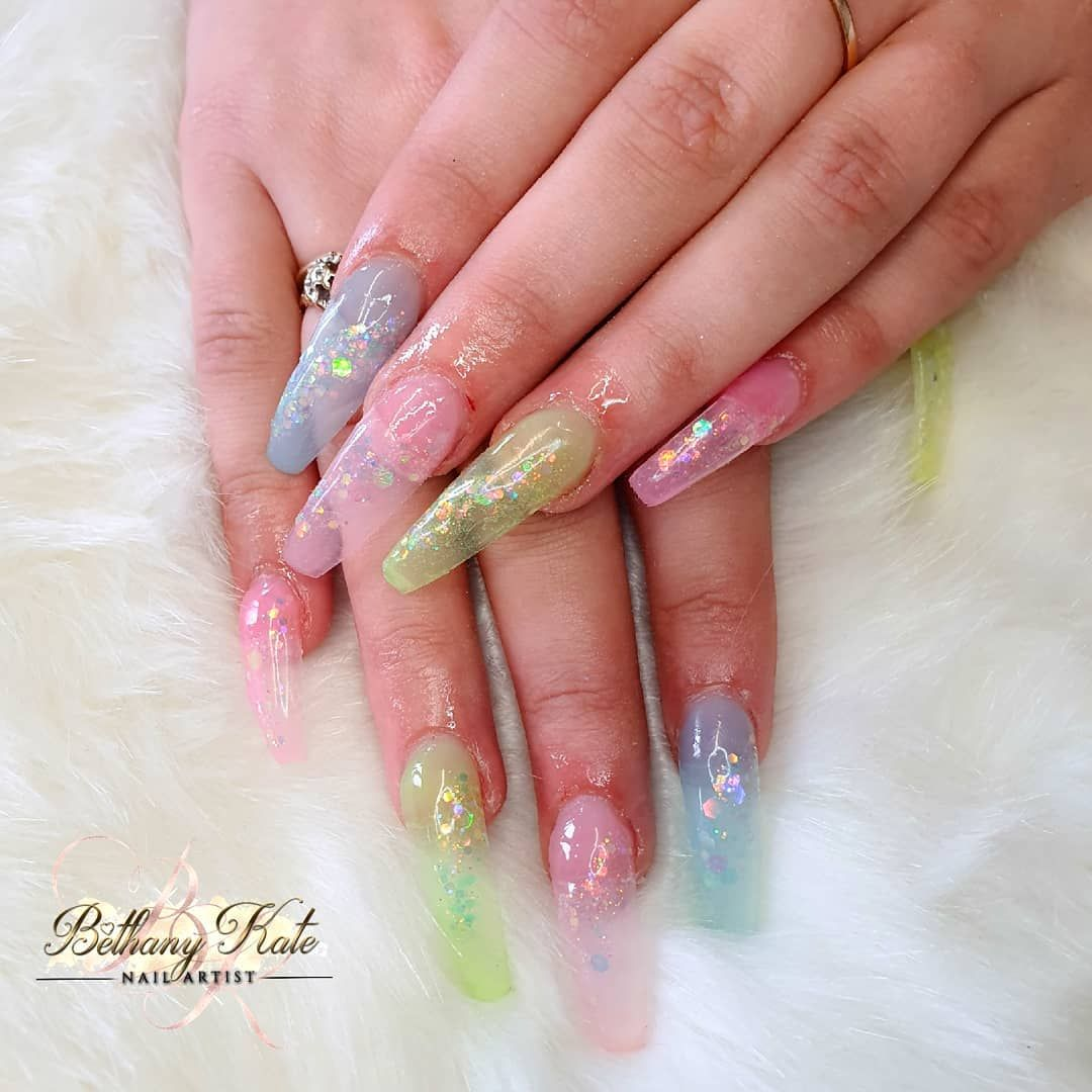 """Beth Kate's Instagram profile post: """"My 1st attempt at Jelly Nails 💅🏾💅🏾💅🏾😍 #nailsoftheday #nailtechnician #nailsoftheweek #nailsofinstagram #showscratch #naillove #nailobsessed…"""""""