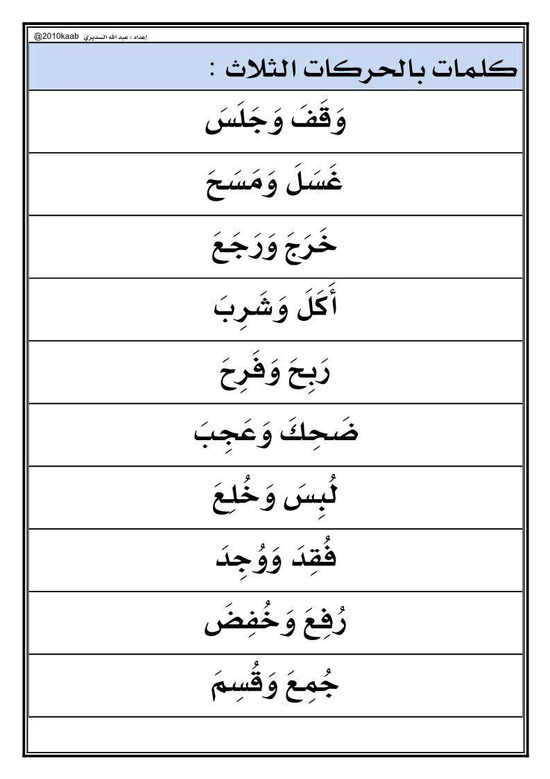 اللغة العربية جمل قراءة بالظواهر اللغوية للصف الأول Math Math Equations
