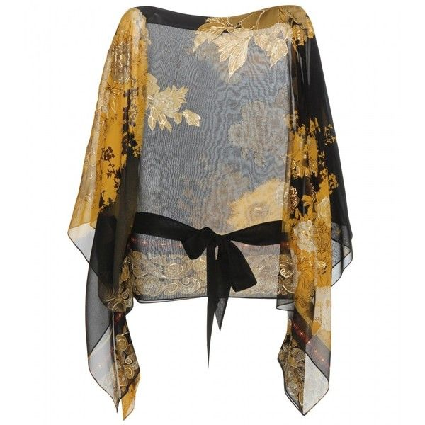 Roberto Cavalli Printed Silk Blouse (€475) ❤ liked on Polyvore featuring tops, blouses, black, roberto cavalli blouse, black silk blouse, black silk top, roberto cavalli top and silk top