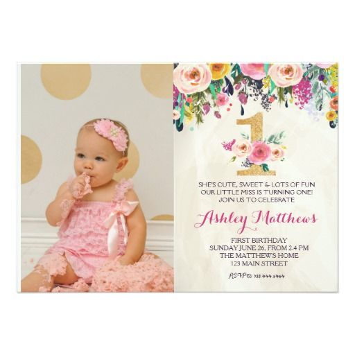1ST birthday FIRST Beautiful Floral Invitation, Card Floral - invitation card for ist birthday