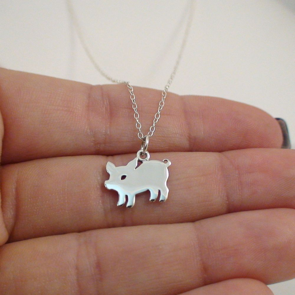 Pig Charm Necklace - 925 Sterling Silver - *NEW* Silhouette Piggy Oink Bacon #FashionJunkie4Life #Charm