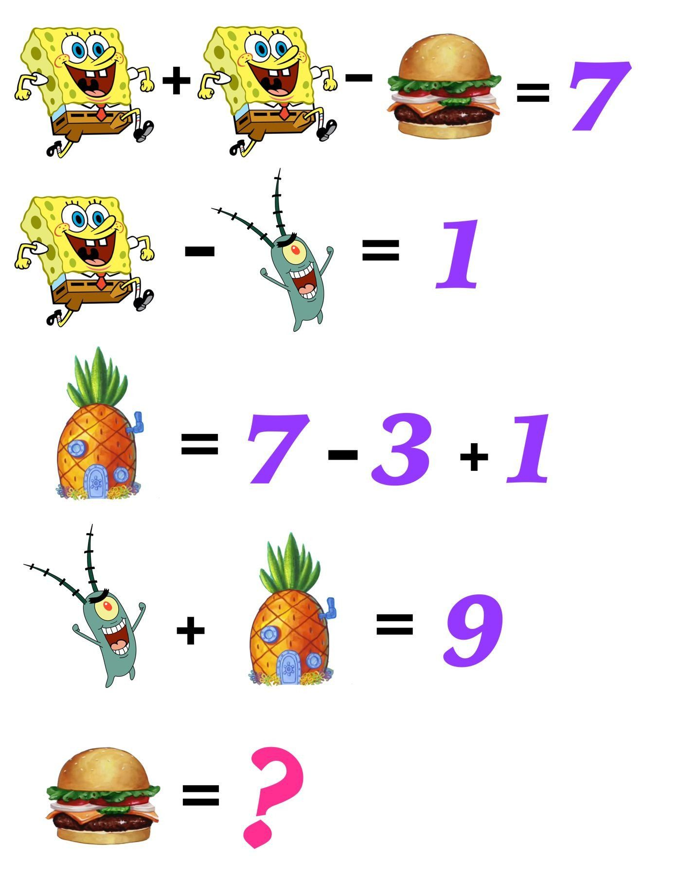 2nd Grade Math Challenge Worksheets Can Your Kids Solve These Fun Free And Printable Spongebob Math Challenge 2nd Grade Math Math Coloring Worksheets