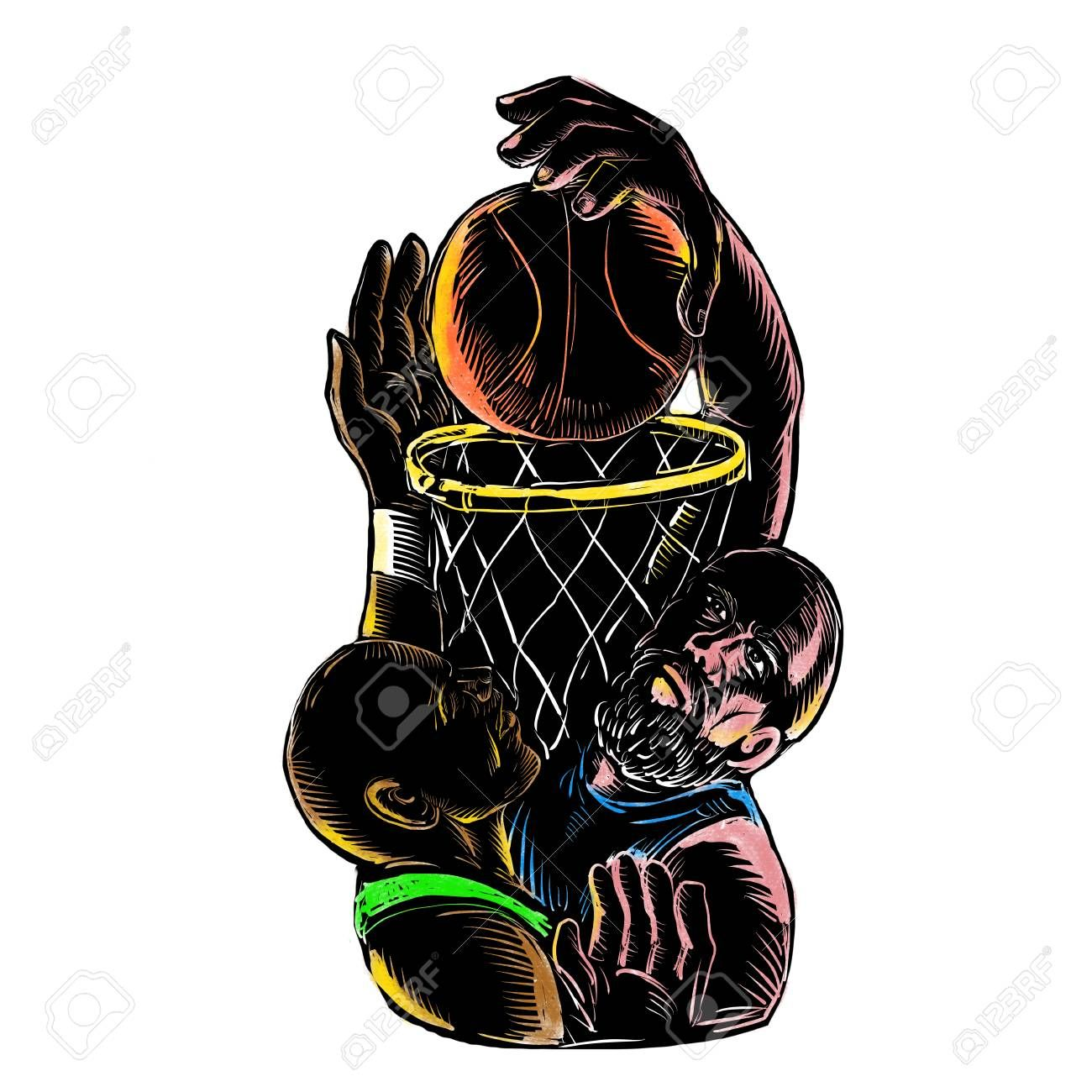 Tattoo style illustration of a Caucasian basketball player